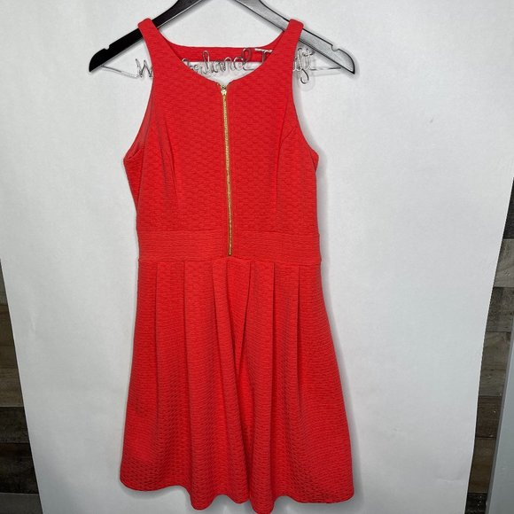 Jessica Simpson Red Orange Zipper Front Dress